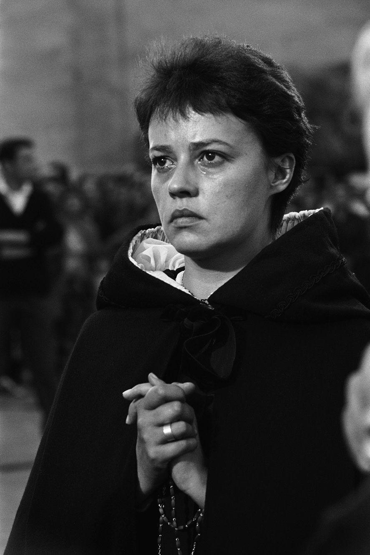 """Septembre 1959. Pendant le tournage du film """"Le Dialogue des Carmélites"""" de Raymond-Léopold Bruckberger et Philippe Agostini,"""