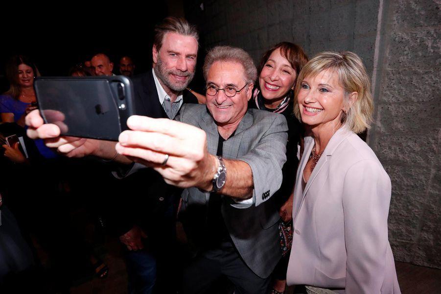 John Travolta,Barry Pearl,Didi Conn et Olivia Newton-Johnà Beverly Hills, le 15 août 2018.