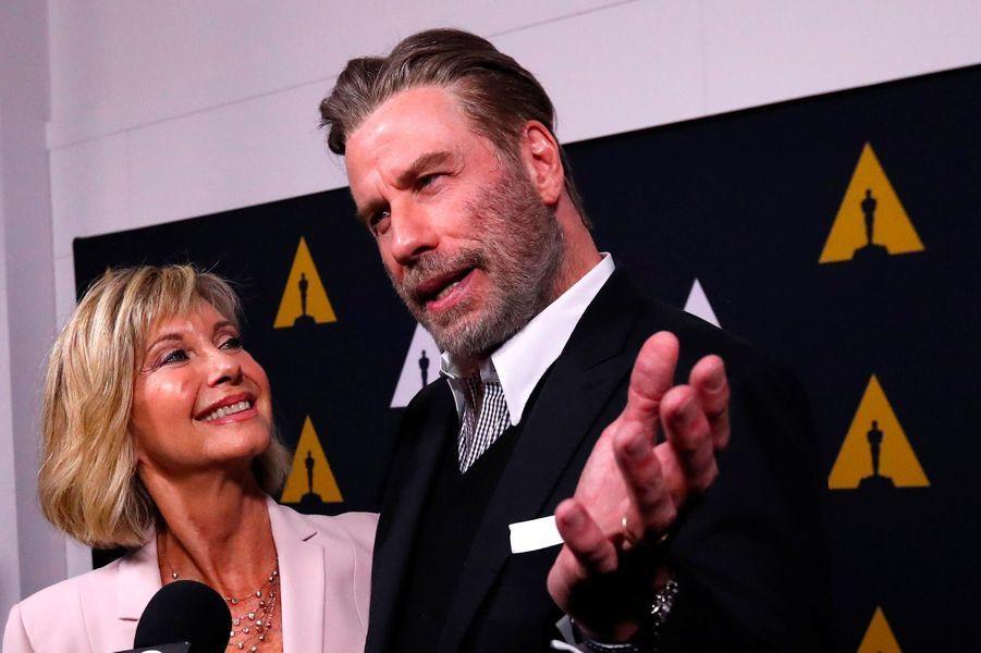 Olivia Newton-John et John Travolta à Beverly Hills, le 15 août 2018.