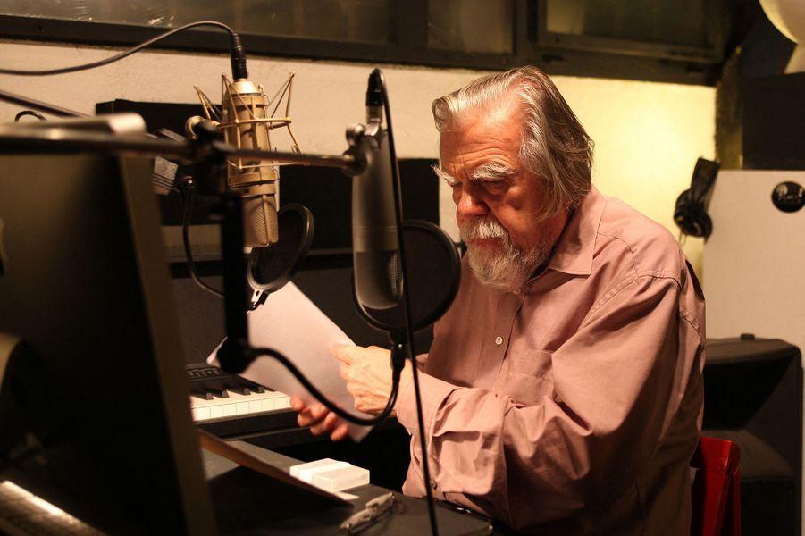 """Michael Lonsdale lors de l'enregistrement du """"Cantique des cantiques"""""""