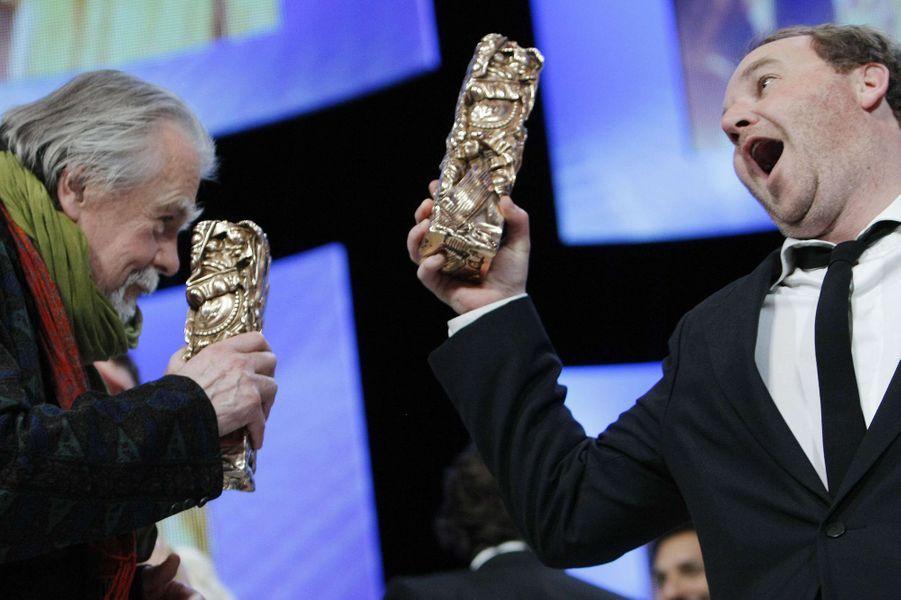 """Michael Lonsdale et Xavier Beauvois triomphants sur la scène des César pour """"Des hommes et des dieux"""""""