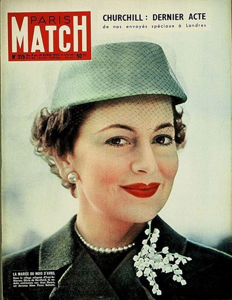Olivia de Havilland en couverture de Paris Match en avril 1955