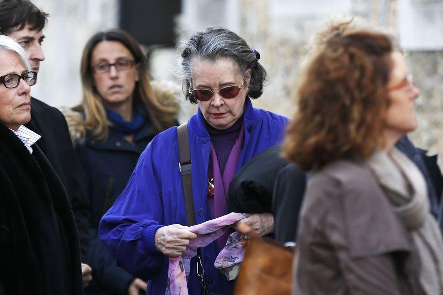 Dominique Lavanant aux obsèques de Danielle Darrieux à Bois-le-Roi, dans l'Eure, le 25 octobre 2017.