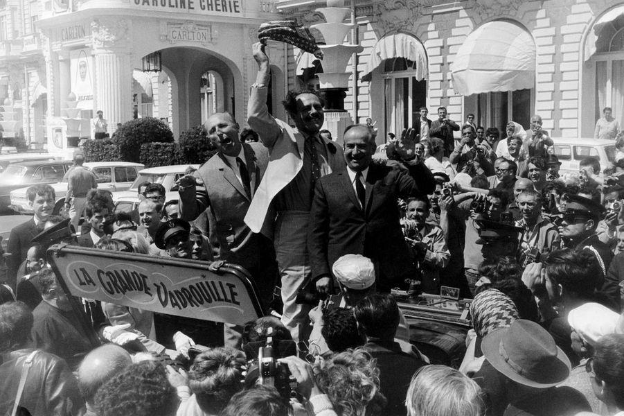 Bourvil, Terry-Thomas et Louis de Funès présentent « La grande vadrouille »Festival de Cannes 1966