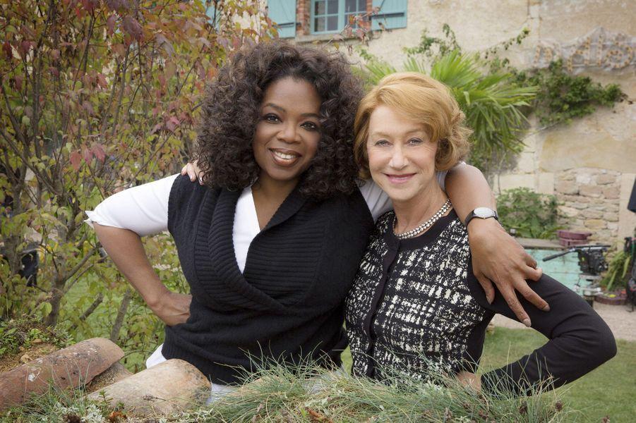 Helen Mirren et Oprah Winfrey sur le plateau du film «Les recettes du bonheur».