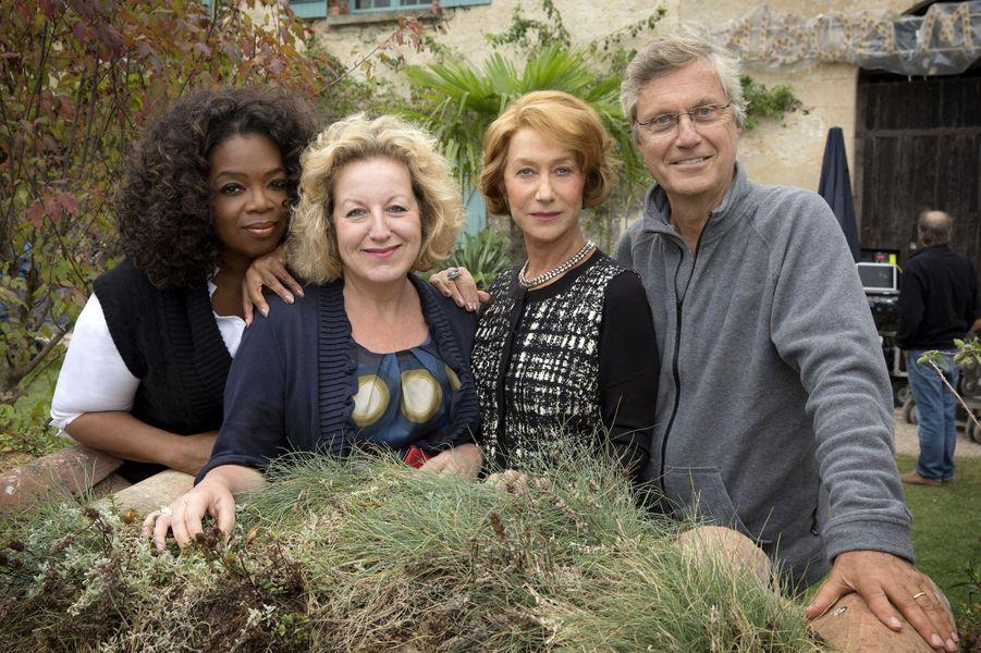 Lasse Hallström, Oprah Winfrey et Helen Mirren sur le plateau du film «Les recettes du bonheur».