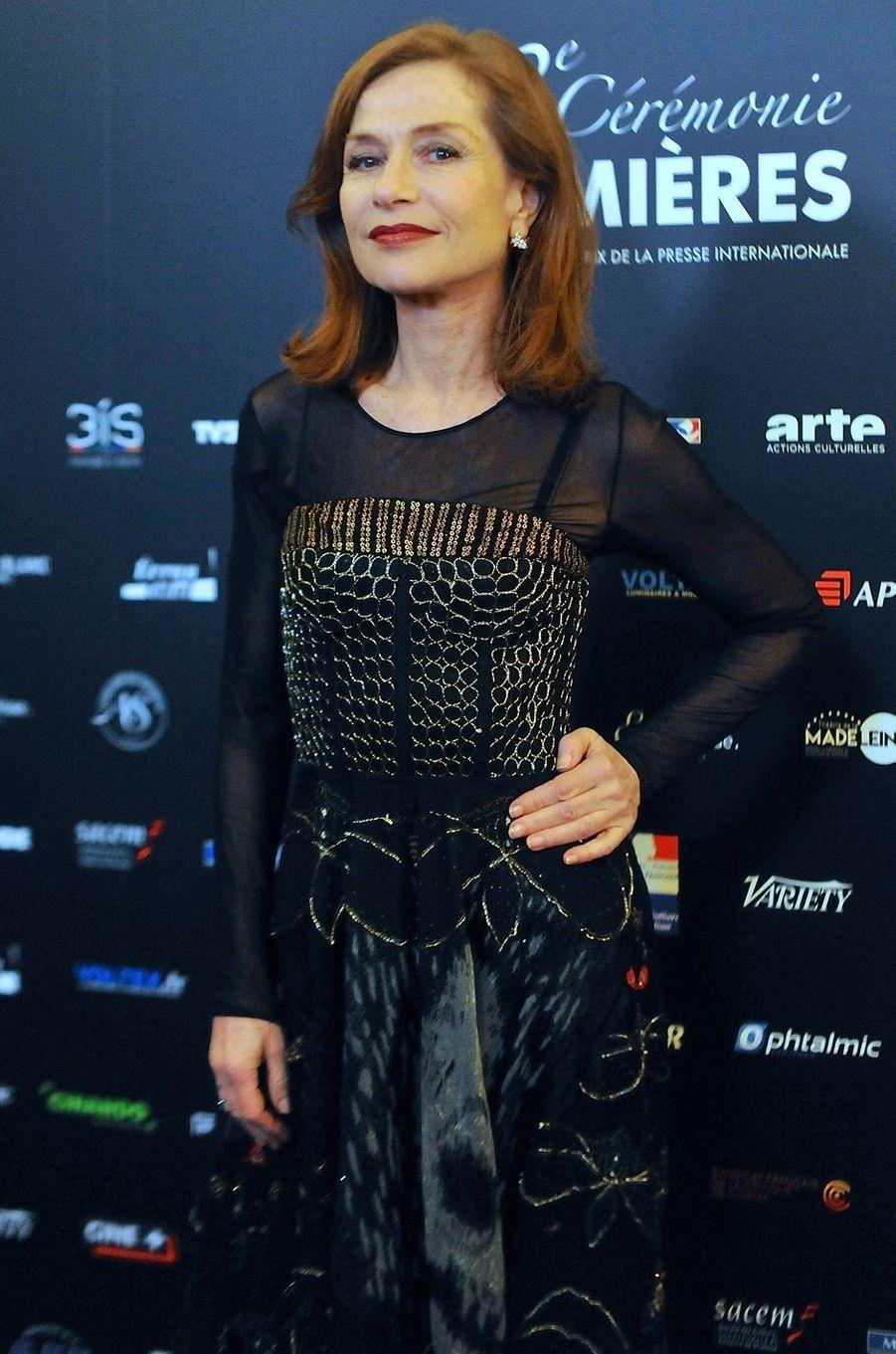 Isabelle Huppert à la 22e cérémonie des Lumières le 30 janvier 2017 à Paris.