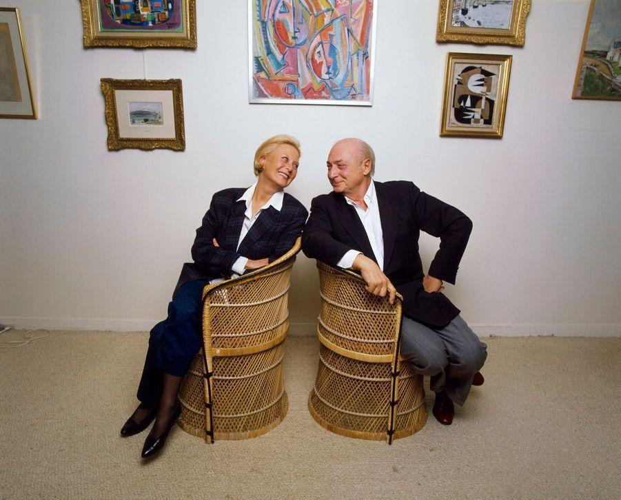 Avec Gérard Oury, son dernier compagnon, chez elle, à Neuilly.