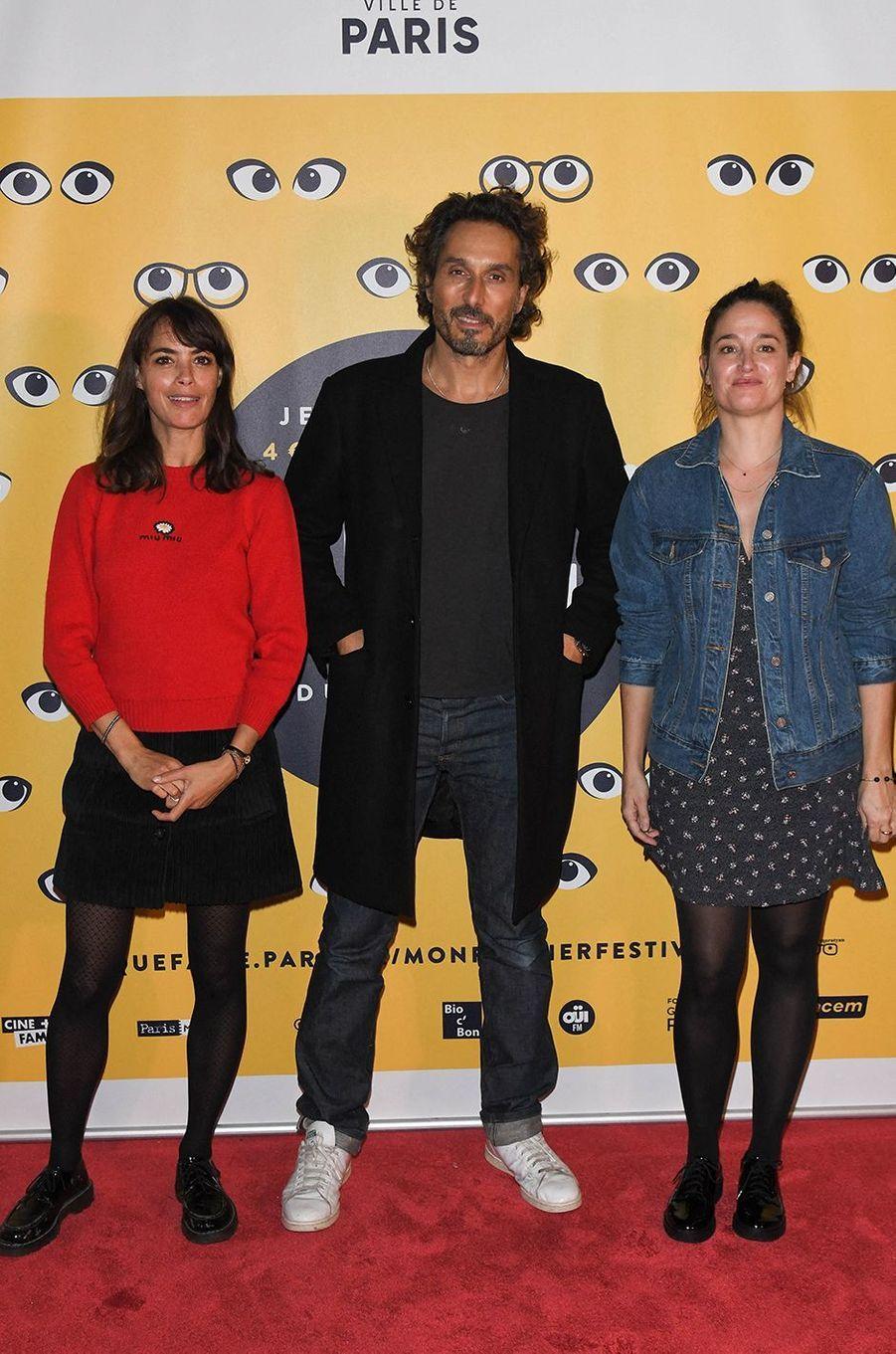 Bérénice Béjo (marraine de l'événement cette année), Vincent Elbaz et Marie Gillainpour la présentation du film «Mystère» lors de la 16e édition de Mon Premier Festival au Forum des Images à Paris le 21 octobre 2020