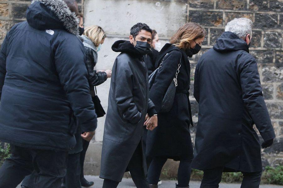 Jamel Debbouze et Mélissa Theuriauaux obsèques de Jean-Pierre Bacri à Paris le 26 janvier 2021
