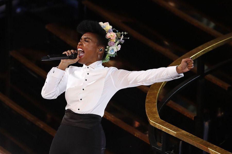 Janelle Monae sur la scène des Oscars 2020.