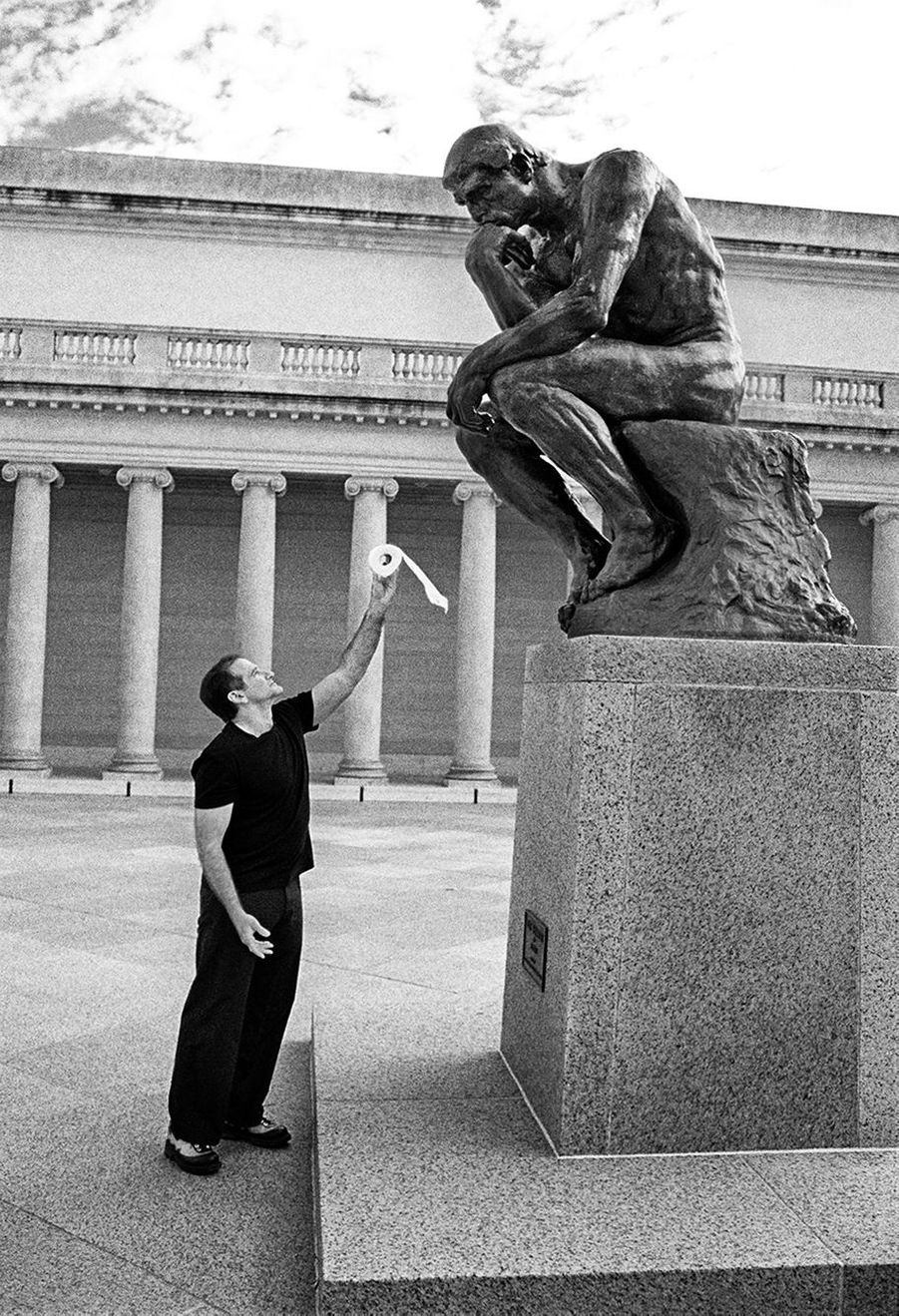 Untitled (Robin Williams With Rodin's Thinker)