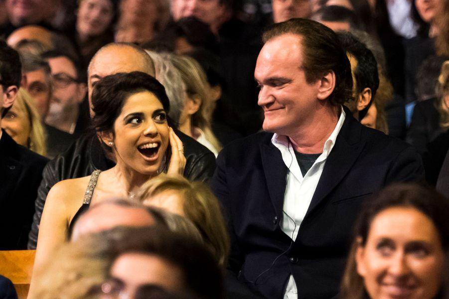 Daniela Pick et Quentin Tarantino lors de l'ouverture du 8e Festival Lumière de Lyon.