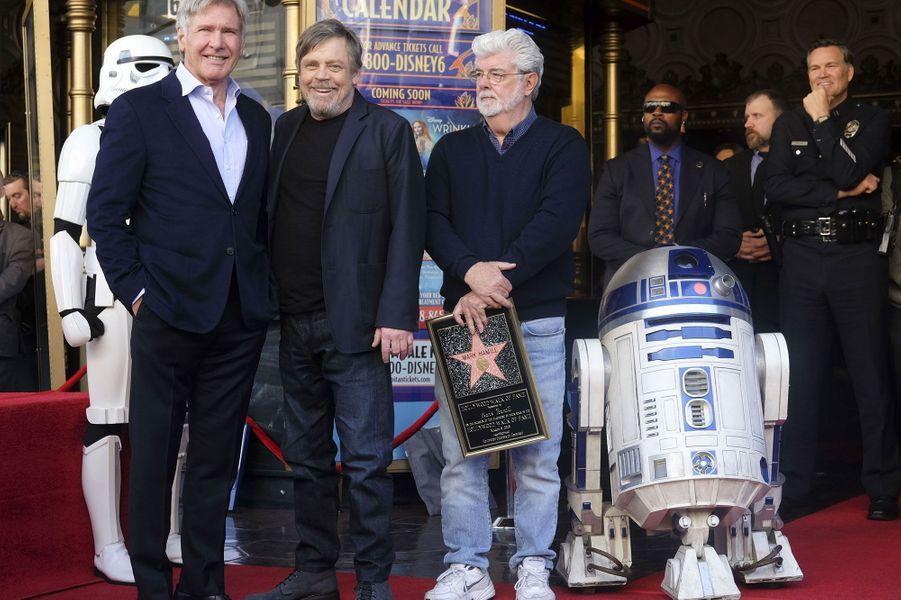 Harrison Ford, Mark Hamill et George Lucas
