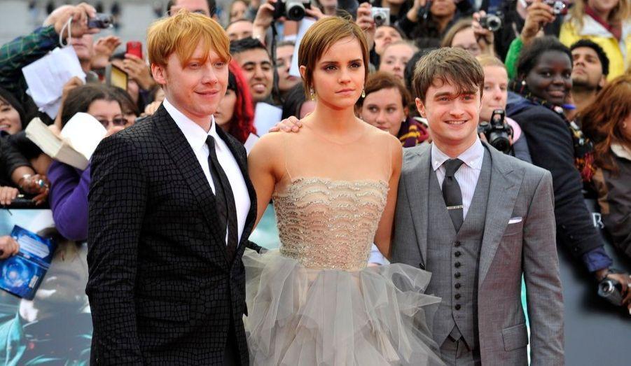 Les trois héros de la saga Harry Potter avaient fait le déplacement pour cette avant première. De gauche à droite: Rupert Grint (Ron Weasley), Emma Watson (Hermione Granger) et Daniel Radcliffe (Harry Potter).