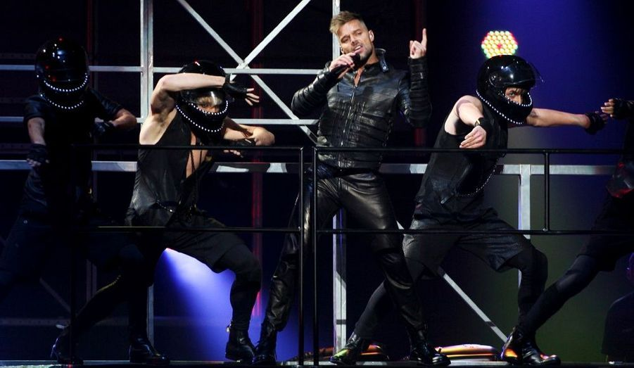 """Ricky Martin, lors de son concert au Jose Miguel Agrelot Coliseum de San Juan, à Porto Rico. Le chanteur a lancé vendredi soir sur son île natale sa tournée mondiale """"Musica, Alma Y Sexo""""."""