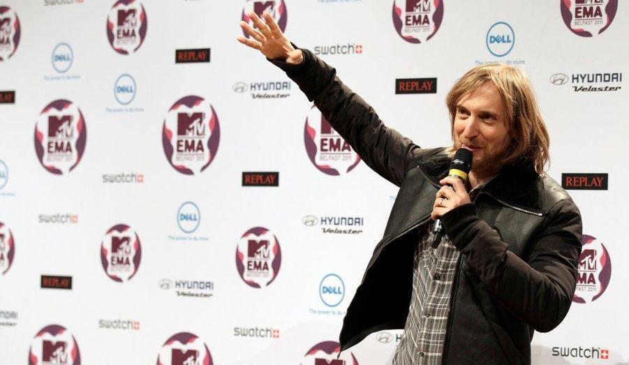 David Guetta participe à la conférence de presse de présentation des MTV European Music Awards qui auront lieu ce soir à Belfast.