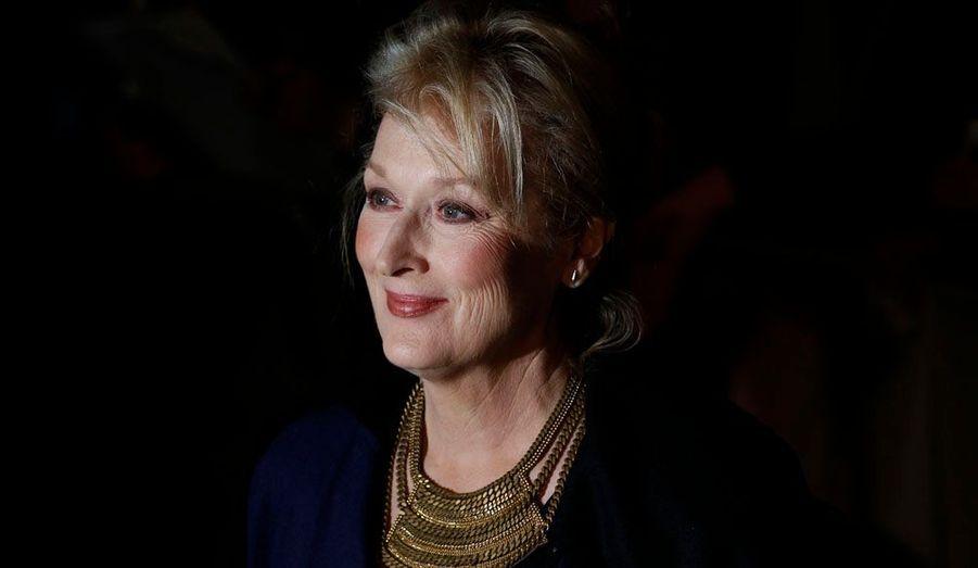 """Meryl Streep arrive à la première européenne du film """"La Dame de fer"""" au British Film Institute de Londres."""