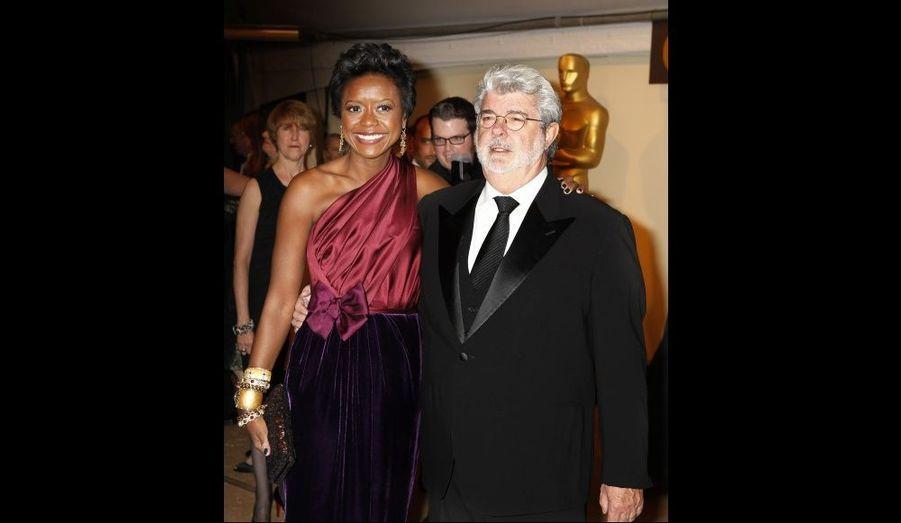 George Lucas et sa compagne Mellody Hobson à la cérémonie des Governors Awards à Los Angeles.