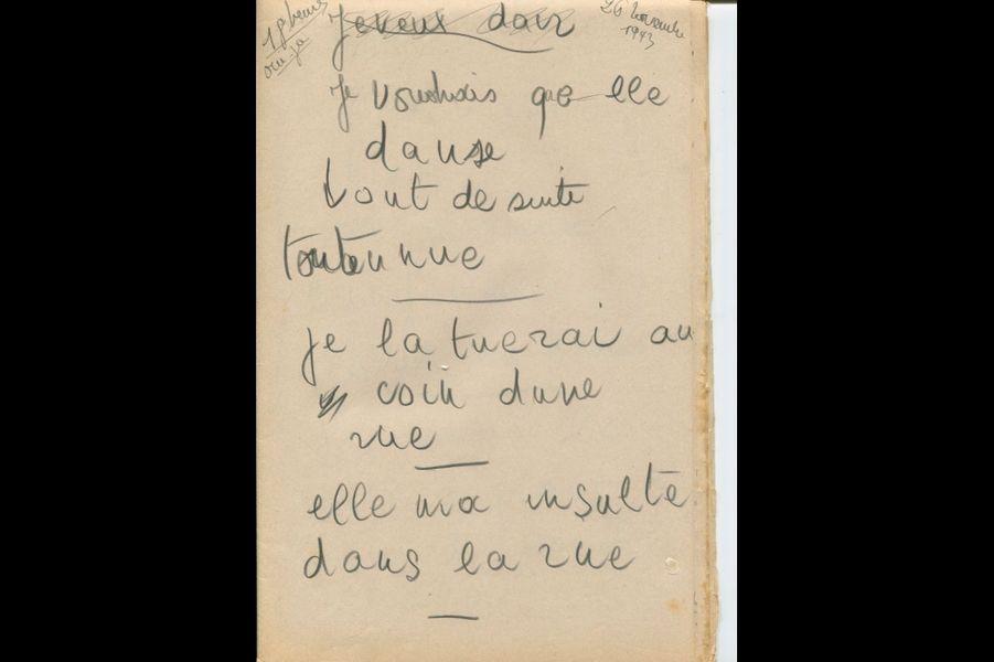 Texte rédigé par Ginette Auché lors d'une séanced'écriture automatique initiée par Émile Tizané le 26 novembre 1943 ; dossierde l'affaire « Frontenay-Rohan-Rohan », 1943.
