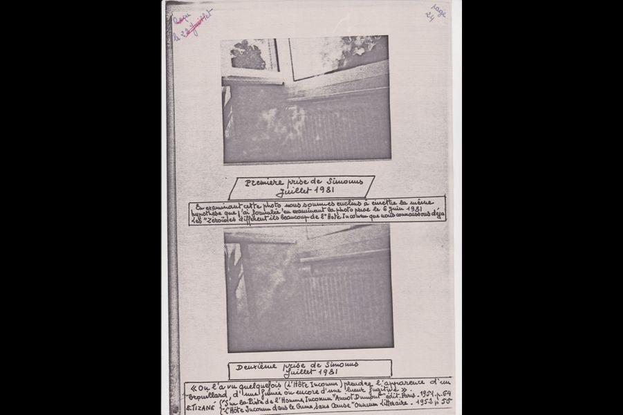 Photographie de « Simonus », un esprit extraterrestre avec qui le gendarme a cru entrer en contact, réalisées par Émile Tizané, juillet 1981.