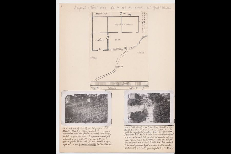 Croquis et photographies, dossier de l'affaire « Rozier » à Seyssuel, 1930.