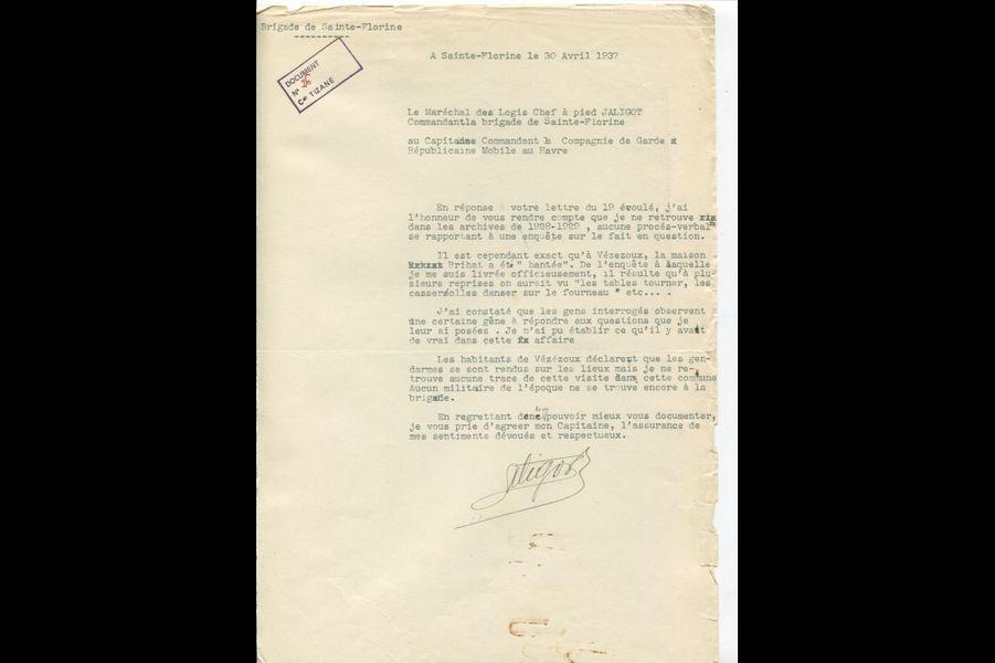 Lettre du Maréchal des Logis-Chef Jaligot à Émile Tizané, 30 avril 1937