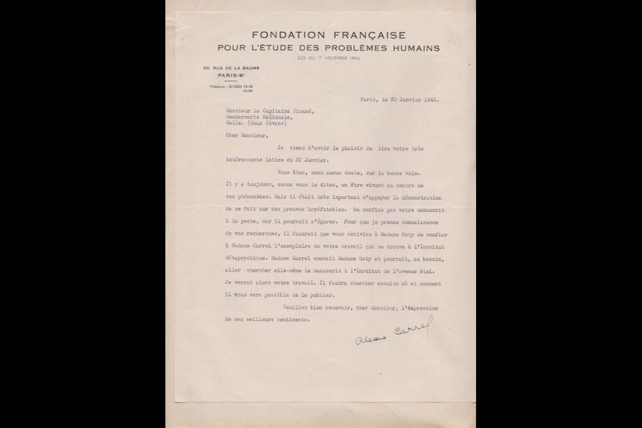 Lettre du docteur Alexis Carrel, régent de la Fondation française pourl'étude des problèmes humains, au capitaine Tizané, 30 janvier 1942.