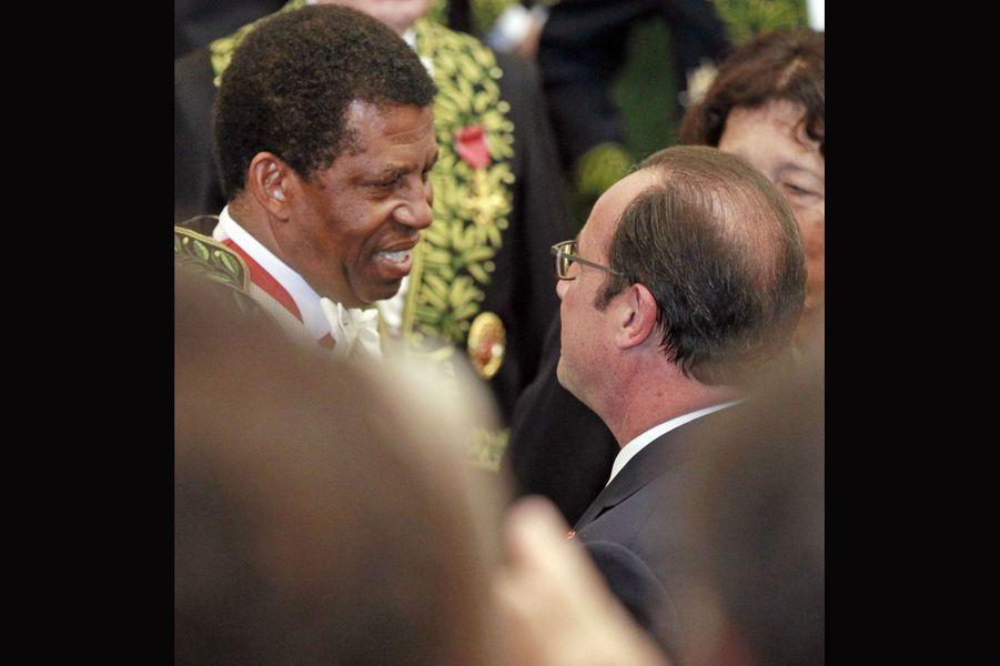 Dany Laferrière et François Hollande