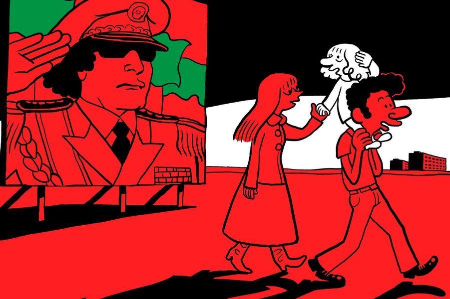 De la Libye de Kadhafi à la Syrie de Hafez-El-Assad, les premières années du jeune Riad Sattouf n'ont pas été aussi douillettes qu'il l'aurait souhaité. Né d'une mère bretonne et d'un père syrien admiratif des flamboyants despotes qui défiaient l'Occident, l'enfant a vécu tour à tour à Tripoli, puis dans un petit village près de Homs, berceau des Sattouf. Dire que son papa, qui avait réussi à s'extraire de son milieu pauvre pour devenir professeur, caressait le rêve que son fils apprenne sa langue natale et se mue un jour en un viril leader du panarabisme ! Un mirage pour le frêle blondinet à l'âme d'artiste… Autobiographie aussi drôle que cruelle, le premier tome de «L'Arabe du futur» confirme tout le talent d'observation de l'auteur de «La vie secrète des jeunes». Cerné par de futurs Pascal Brutal, qui s'amusent à prendre un chiot comme ballon de foot ou à caillasser des ânes, le gamin tente de trouver refuge dans les jupes de sa mère ou de faire risette aux femmes qui le trouvent mignon à croquer. Ironique, Sattouf confronte l'enthousiasme paternel à ses souvenirs d'une réalité matérielle plus rude, voire sordide. Et pourfend, à travers ce petit soldat israélien qui dissimule un poignard dans le dos, le poison de l'antisémitisme que l'on répand jusque dans les jouets. Le combat contre la bêtise ne fait que commencer !«L'Arabe du futur», de Riad Sattouf, éd. Allary, 20,90 euros.