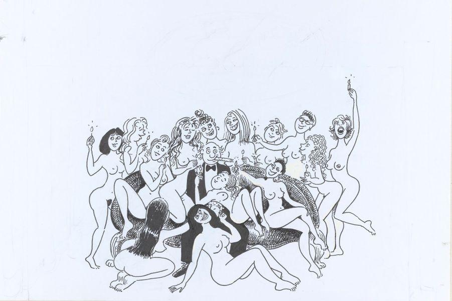 Autoportrait de Georges Wolinski au milieu de femmes nues.