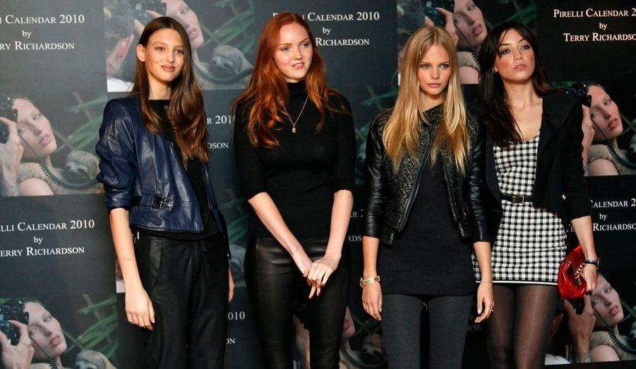 Georgina Storilijtoric, Lily Cole, Meloes Horst et Daisy Lowe se sont déplacées à Londres pour la présentation du calendrier Pirelli 2010.