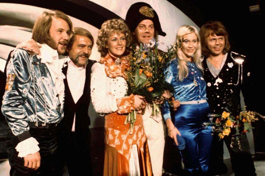 ABBA lors de leur victoire en 1974 pour la Suède