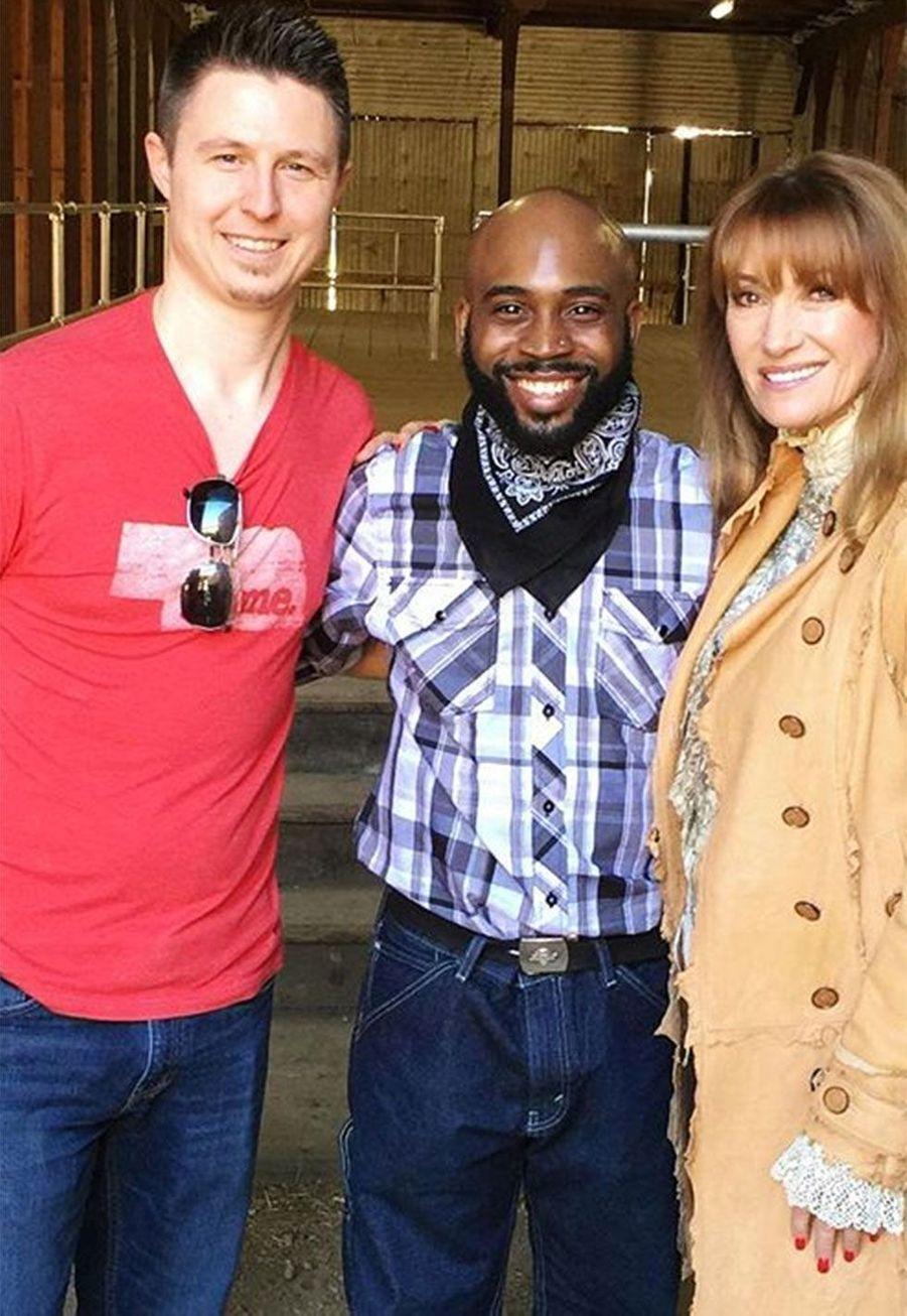 Shawn Toovey (Brian) [à gauche],Brandon Hammond et Jane Seymour en 2016
