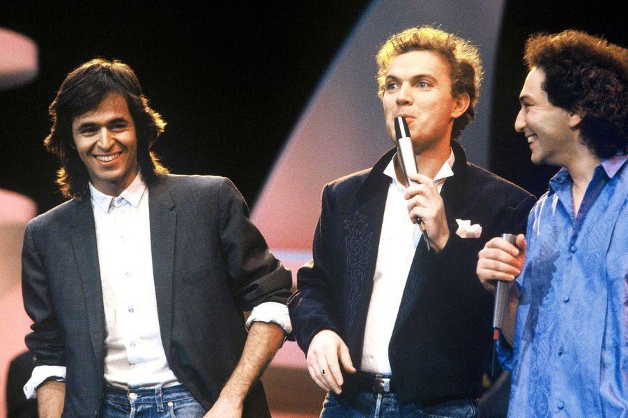 Avec Jean-Jacques Goldman et Michel Berger en 1986