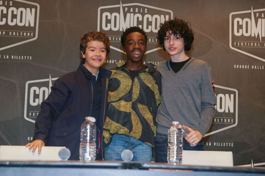 "Gaten Matarazzo (Dustin), Caleb McLaughlin (Lucas) et Finn Wolfhard (Mike) de ""Stranger Things"""