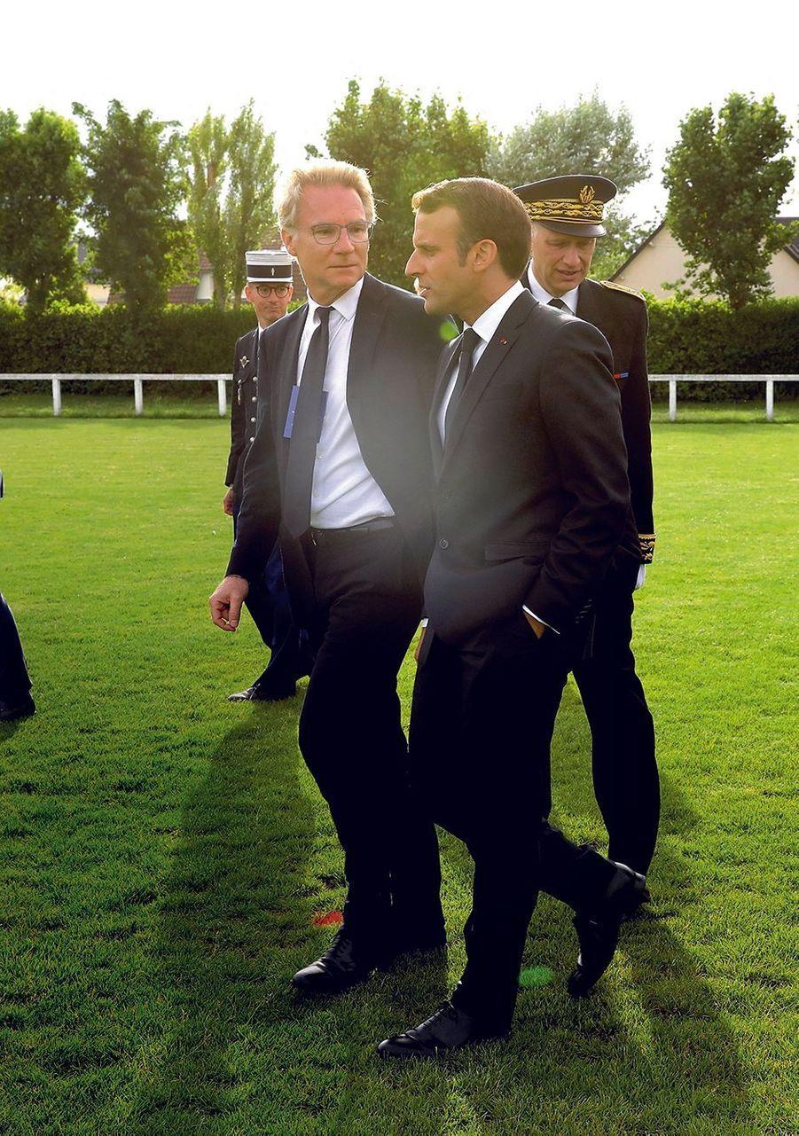 Colleville-sur-Mer, 2019, avec le président Macron, en marge des cérémonies du 75e anniversaire du débarquement en Normandie.