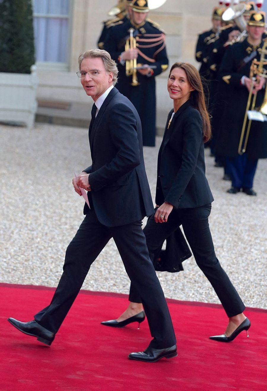 Avec sa femme, Delphine, pour un dîner d'Etat à l'Elysée en avril 2015.