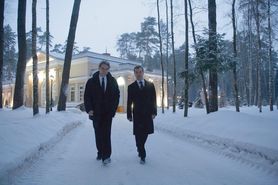 Environs de Moscou, 2010, avec Dmitri Medvedev dans sa résidence présidentielle. L'un des reportages dont il était le plus fier.