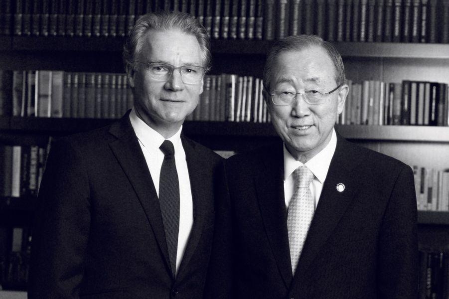 New York, 2015, avec Ban Ki-moon, secrétaire général de l'Onu.