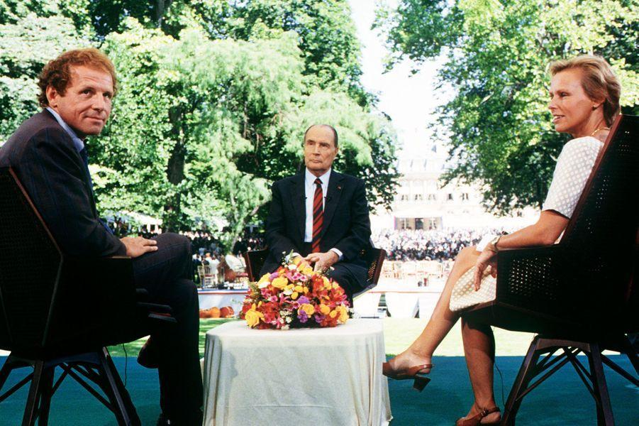Avec François Mitterrand en 1990