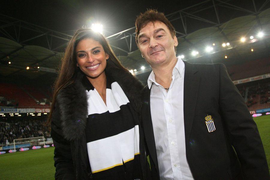 Tatiana Silva et Fabien Debecq, président du SC Charleroi, en novembre 2012 à Charleroi.