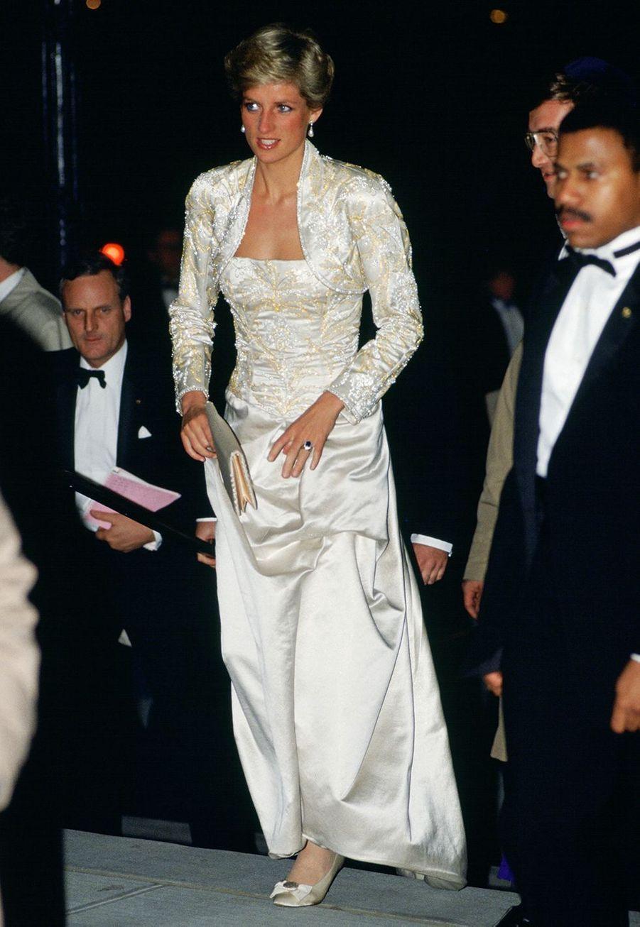 Lady Diana à son arrivée à l'Académie de musique de Brooklyn, le 2 février 1989