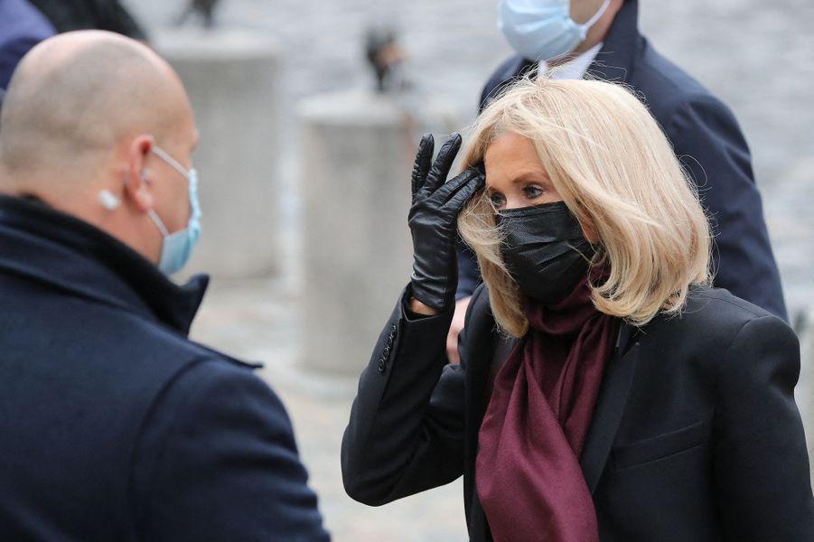 Brigitte Macronaux obsèques de Juliette Gréco à Paris le 5 octobre 2020