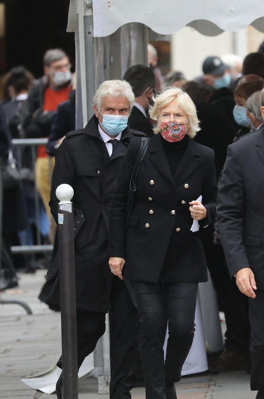 Claude Sérillon et Catherine Ceylacaux obsèques de Juliette Gréco à Paris le 5 octobre 2020