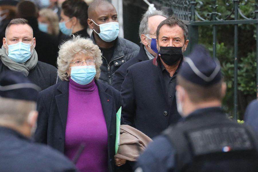 Jacqueline Franjou et Bernard Montielaux obsèques de Juliette Gréco à Paris le 5 octobre 2020