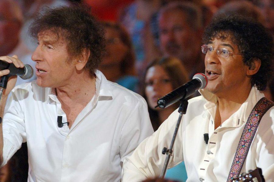 """Alain Souchon et Laurent Voulzy sur le plateau de """"Vivement Dimanche"""" en septembre 2006"""