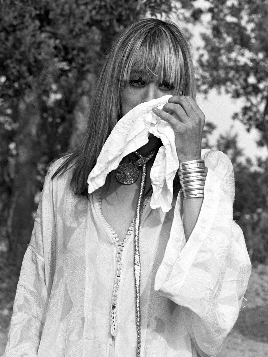 Anita Pallenberg en 1971 au mariage de Mick Jagger et Bianca Moreno à Saint-Tropez.