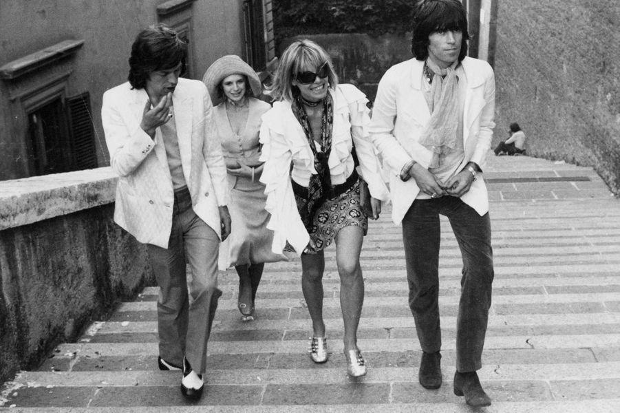 Mick Jagger,Marianne Faithfull, Anita Pallenberg et Keith Richards.