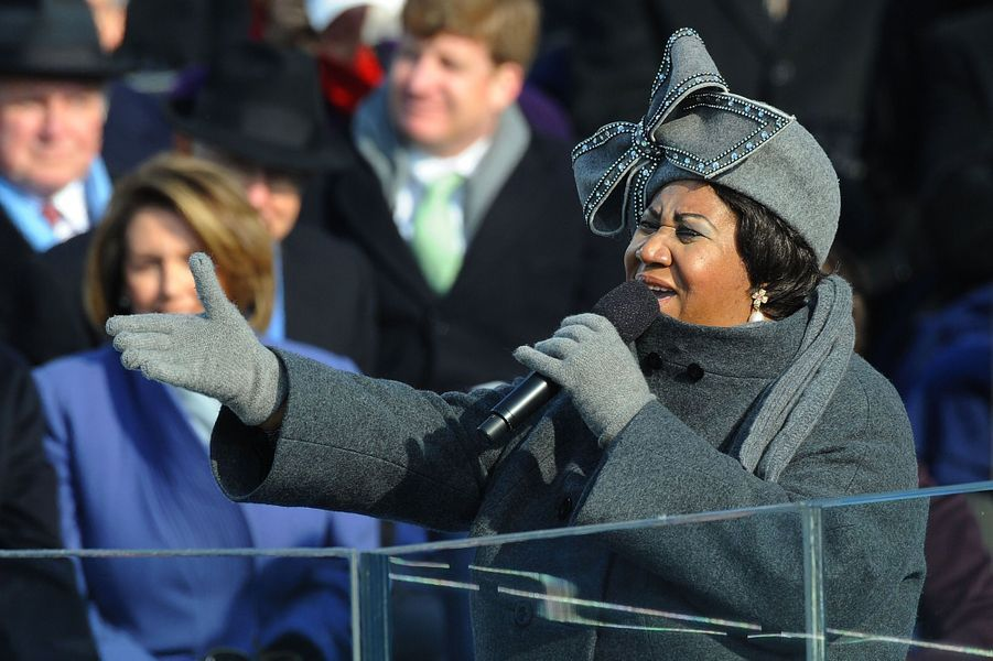 Aretha Franklin chante pour l'investiture de Barack Obama, en 2009.